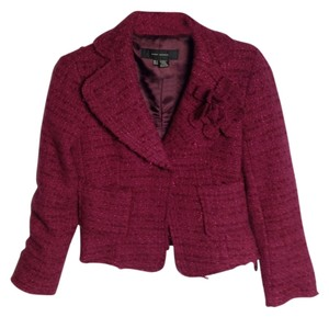 Zara Tweed Burgundy Blazer