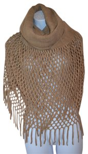 Brown Infinity Knit Tassel Scarf
