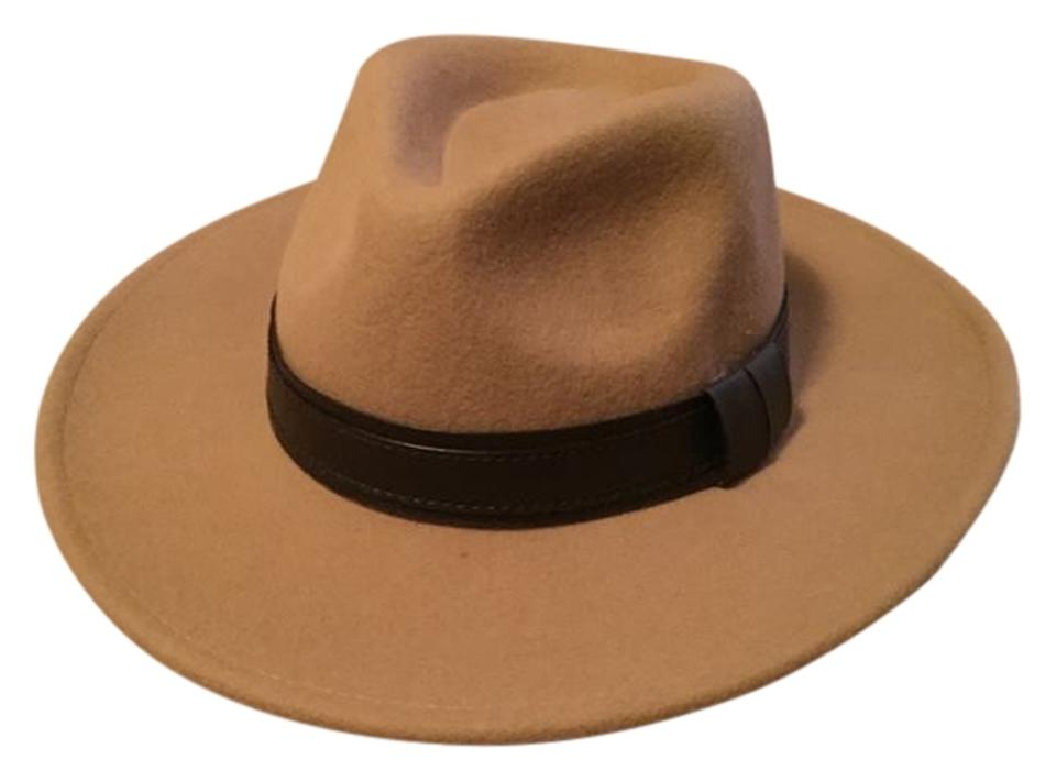 081d04326893a Forever 21 Tan Camel Wide Brim Felt Fedora with Faux Leather Band ...