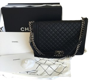 Chanel Le Boy Lambskin Black Messenger Bag