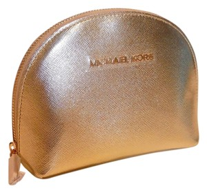 Michael Kors NEW MK JET SET GOLD SAFFIANO AUTHENTIC MAKEUP COSMETIC CASE TOILETRY BAG