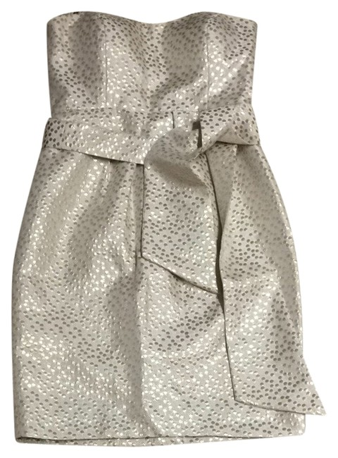 Item - Beige Ivory Gold Strapless Pleated Belted Above Knee Formal Dress Size 4 (S)