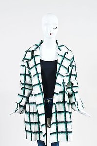 Dior Christian White Green Wool Mohair Check Print Toggle Coat