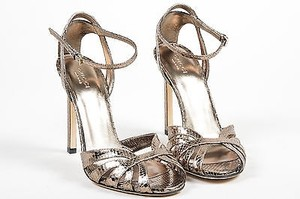 Gucci Gunmetal Metallic Snakeskin Hala Caged Ankle Strap Heels Gray Sandals