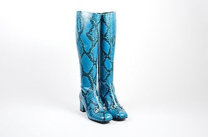 Gucci Snakeskin Leather Horsebit Knee High Block Heel Blue Boots
