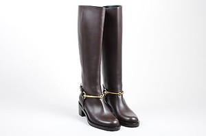 Gucci Gold Tone Leather Horsebit Knee High Riding Brown Boots