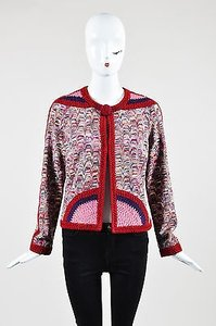 Missoni Collectable Pink Wool Knit Zig Zag Crochet Sweater Red Jacket