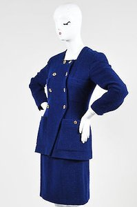 Chanel Chanel Boutique Blue Gold Tone Tweed Double Breast Jacket Skirt Suit Set