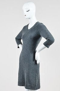 Chanel short dress Gray Dark Heather Cashmere V Neck Perforated Waist Sweater on Tradesy