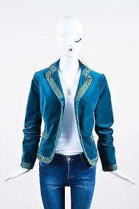 Moschino Velvet Brass Embellished Blue Jacket