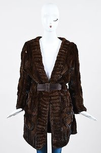 J. Mendel Dark Fur Quilted And Cabled Ls Shawl Lapel Belted Coat