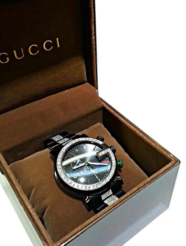 d474cd304e2 Gucci Gucci Men s Watch 101M Chrono 6.50 Carats TW Aftermarket set real  Diamonds Image 0 ...