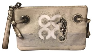 Coach Wristlet in Silver/White