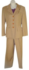 Escada Escada Vtg Pants Suit 38 US 6 S Caramel Tan Wool Pleated Cuff Pants Classic Look