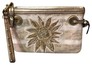 Coach Wristlet in Gold/White