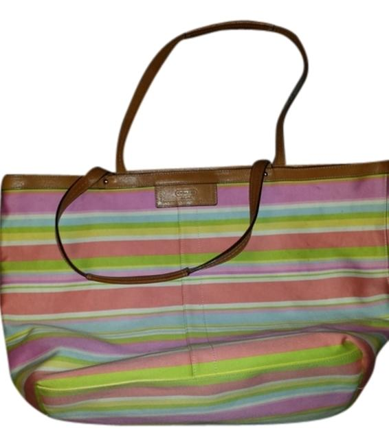 Item - Pink Yellow Lt Blue Lt Green Cotton Tote