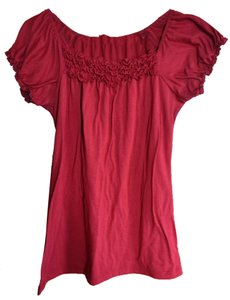 Agenda Ruched Gathered Sleeve Knit T Shirt red