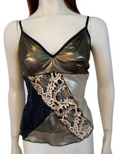 Ann Ferriday Date Night Datewear Gold Glitter Shimmer Lace Baroque Vintage Fitted Top Metallic