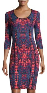 Donna Morgan short dress Coral Red, Blue, Plum. Black Trim on Tradesy