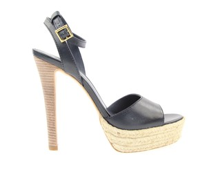 Tory Burch Leather Leather Sole Navy Platforms