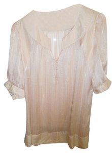 Miss Me Cuffed Sleeved Silver Lining In Thread Top Light Pink