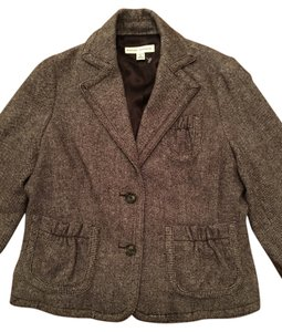 Banana Republic Tweed Wool Jacket 3/4 Sleeves Brown Blazer