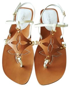 Louis Vuitton Lv Flats Strappy 7 Natural Beige Sandals