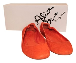 Alice + Olivia Vibrant Calf Hair Orange Flats