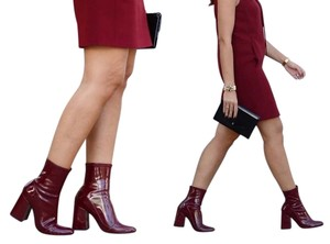 b9a757aa43aa Zara Patent Leather Faux Patent Faux Leather Heels Sock Sock Style Ankle  Winter Chunky Mod Block