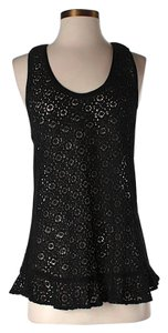 Anna Sui Lace Open Back Top Black