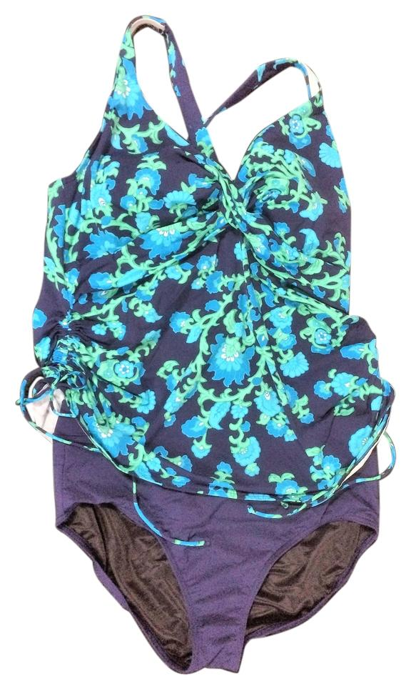 Lands End Navy Blue Bright Blue And Green Wear Tankini Size 16 Xl