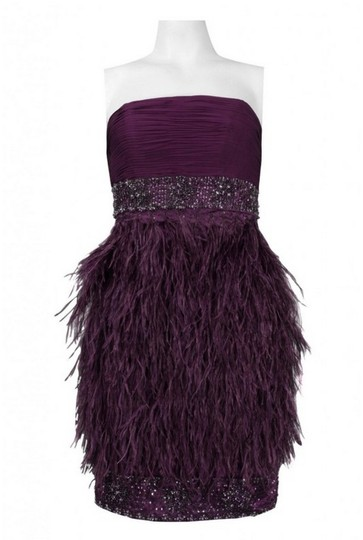 Sue Wong Eggplant Silk and Ostrich Feather N9123 Formal Bridesmaid/Mob Dress Size 2 (XS)