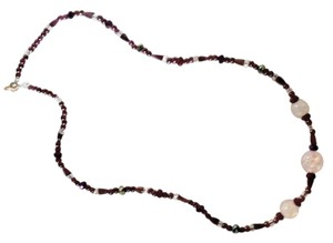 Other Semiprecious Garnet with three beads that look like opals