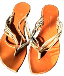 Robert Clergerie Designer Designer Tri-Tone Metallic with Leather Sole Sandals