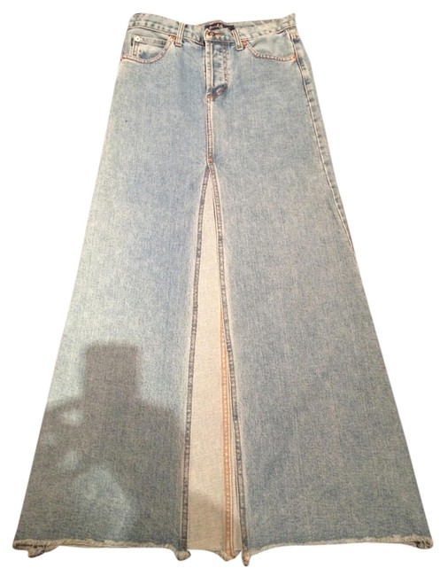 Earl Jeans Light Denim Distressed Wide Skirt Size 4 (S, 27) Earl Jeans Light Denim Distressed Wide Skirt Size 4 (S, 27) Image 1