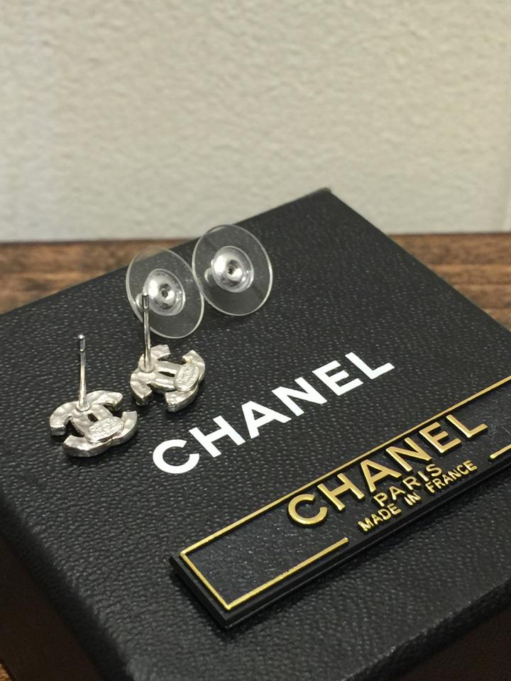 df5375c4b Chanel Mini Classic Swarovski Crystal Cc Stud Earrings - Tradesy
