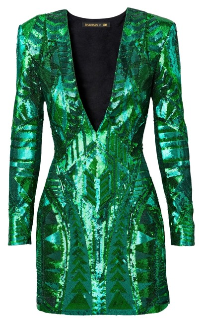 Item - Green XS H&m Sequin Embroidered Eu 32 Above Knee Night Out Dress Size 4 (S)