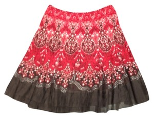 Elie Tahari Mini Skirt Red with Black & White