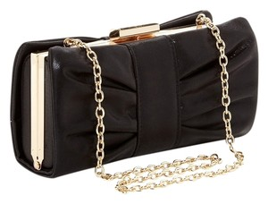 Jessica McClintock Bronze Gold Chain Black Clutch