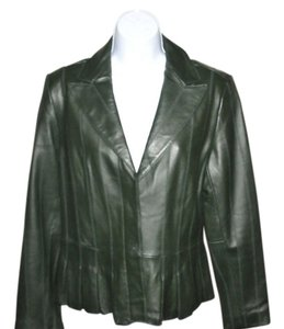 Coldwater Creek Design Softest Leather New Hidden Buttons Size 8 Dark Olive Leather Jacket