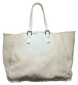 Bottega Veneta Woven Leather Leather Tote in white