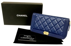 Chanel Graffit Cambon Caviar Maxi Blue Clutch