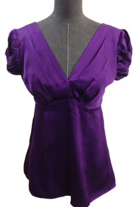 Nanette Lepore Silk Puff Sleeves Top Purple