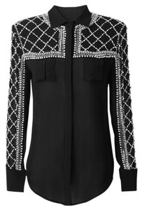 Balmain x H&M Longsleeve Studded Blouse Beaded Night Out Date Night Party Diamond Button Down Shirt Black
