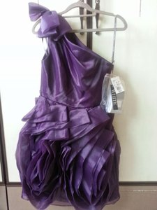 Vera Wang Amethyst One Shoulder Organza Short Dress Vw360012 Dress