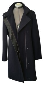 Andrew Marc Funnel Neck Navy Faux Leather Asymmetric Pea Coat