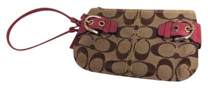 Coach Wristlet in Khaki And Pink