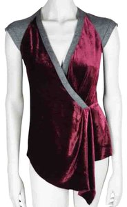 Nanette Lepore Top Burgundy and Gray
