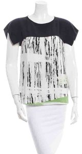 Tibi Silk Graphic Print Abstract Top Black Green & White