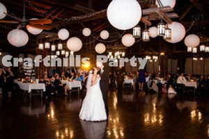 "White 24x 18"" with Led Lights Chinese Round Paper Lanterns with Led Light For Floral Centerpiece Party Other"